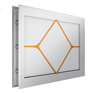 окно для секционных ворот - 452х302 мм, белое, раскладка «ромб»