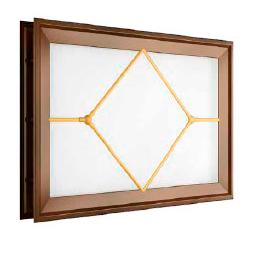 окно для секционных ворот - 452х302 мм, коричневое, раскладка «ромб»